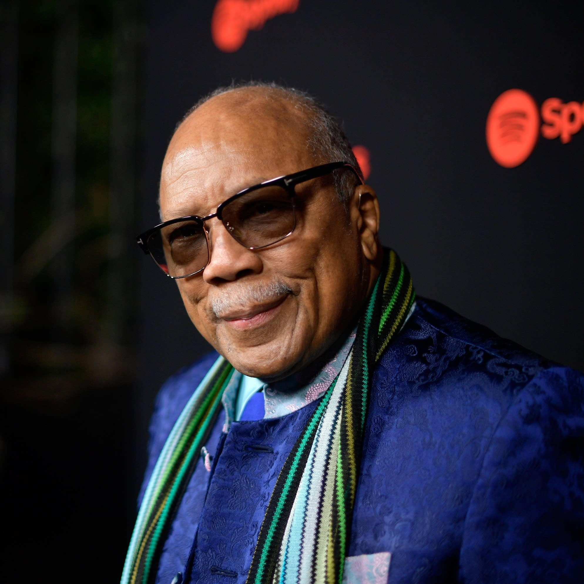 Quincy Jones arrives at a Spotify event in 2017.