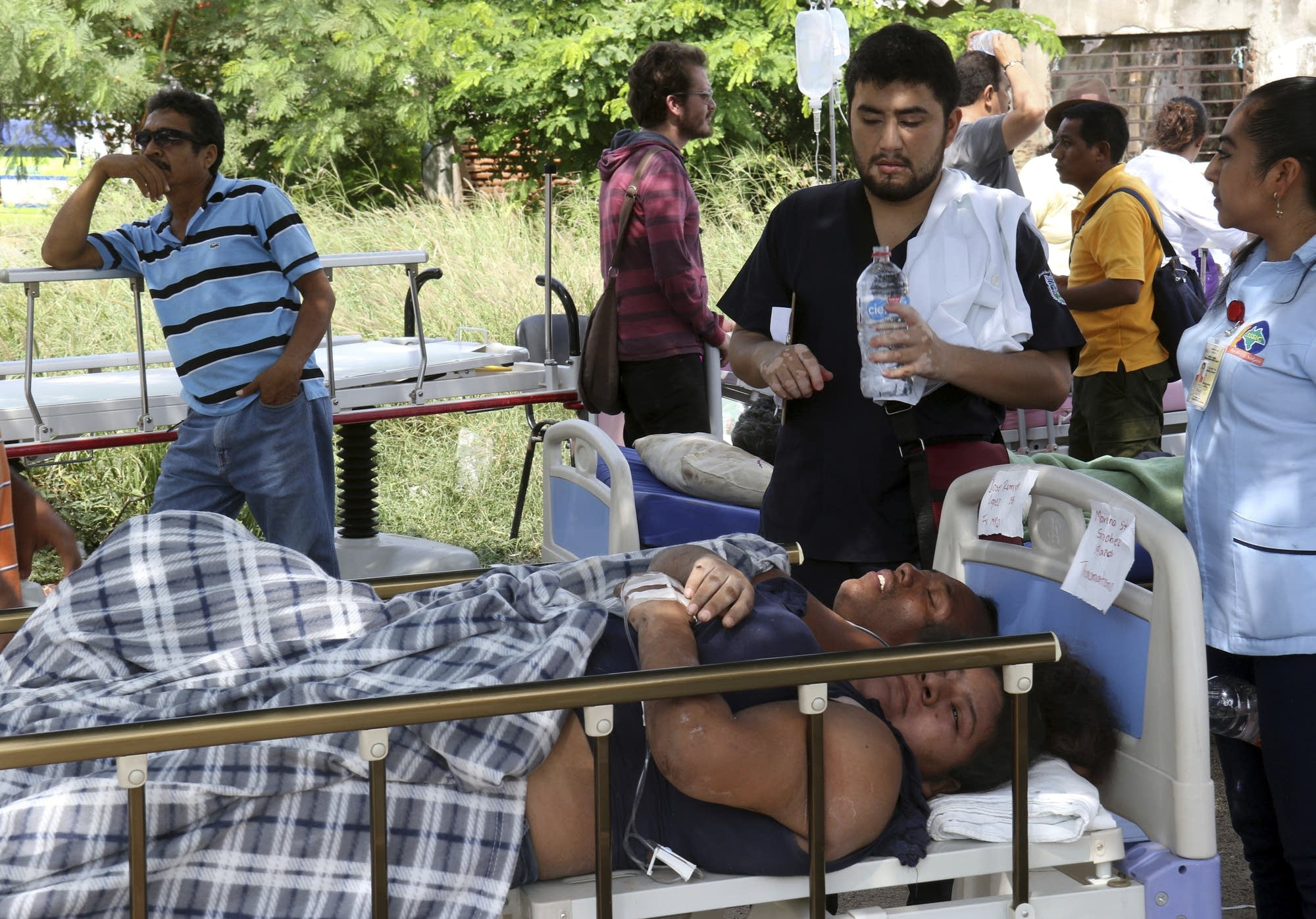 Patients forced to evacuate following the massive earthquake in Mexico