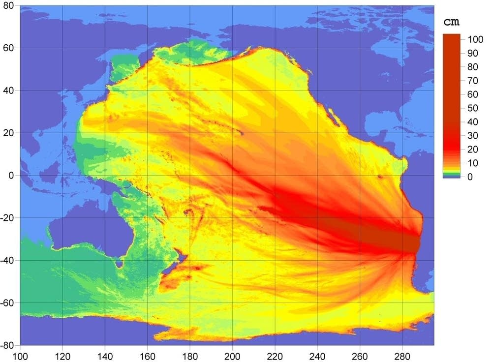 Tsunami energy map