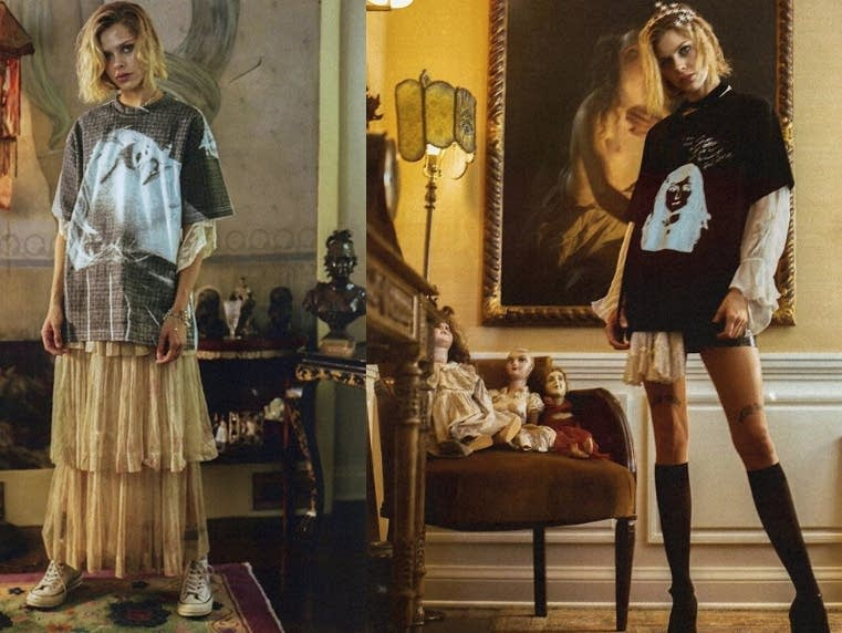 Looks from Courtney Love's clothing line.