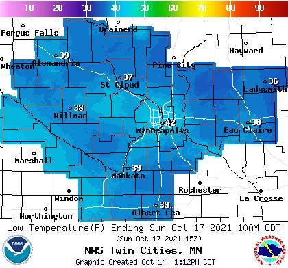Forecast minimum temps Saturday