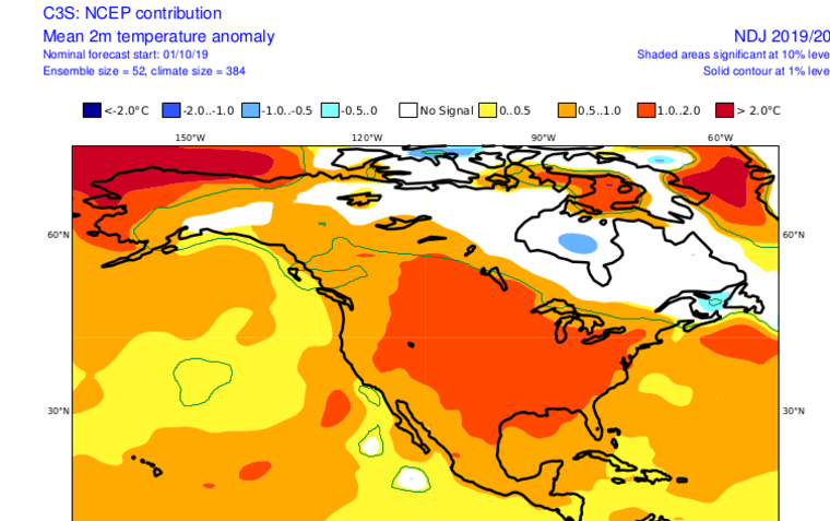 NCEP CSM average temperature anomaly for November through January