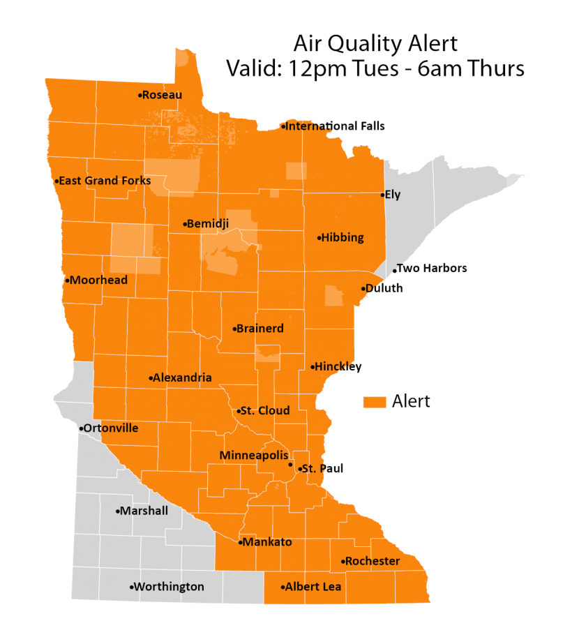 A map covering much of Minnesota shows the effected air quality alert.