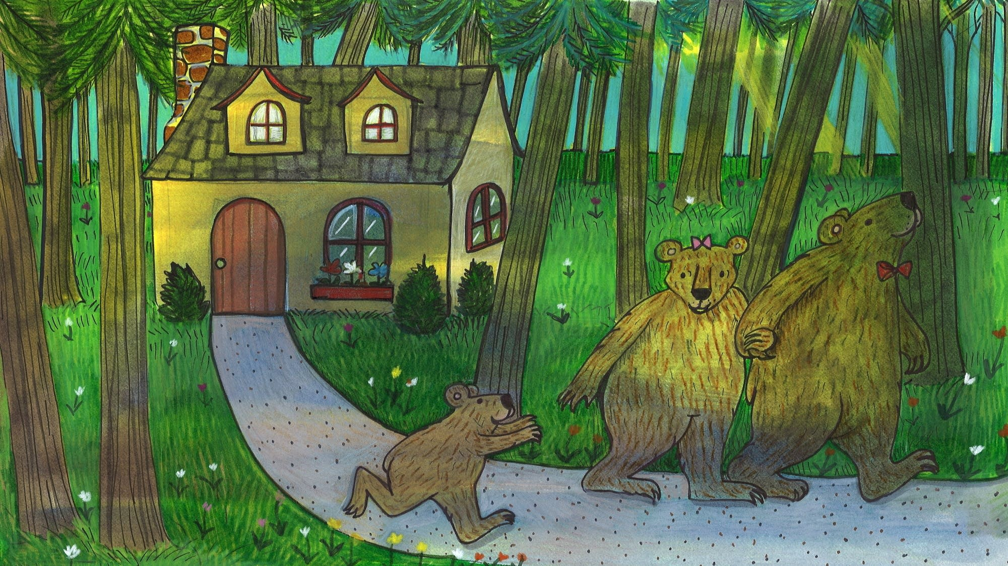 Goldilocks and the Three Bears: The bears took a walk in the forest.