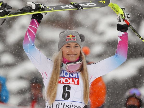 United States' Lindsey Vonn celebrates her win.