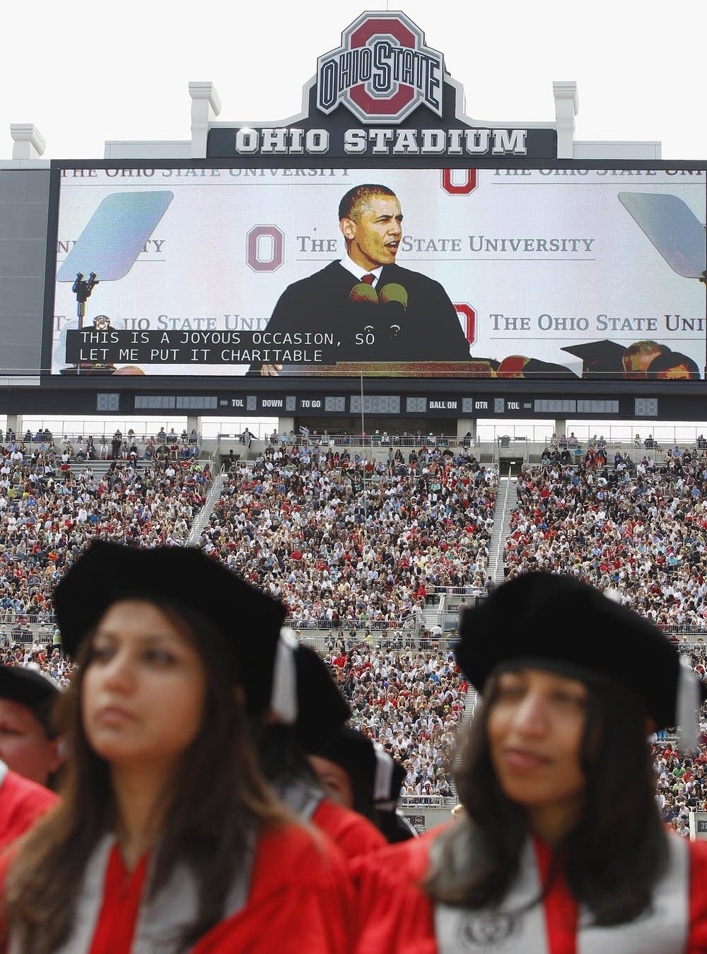 Obama on the video screen