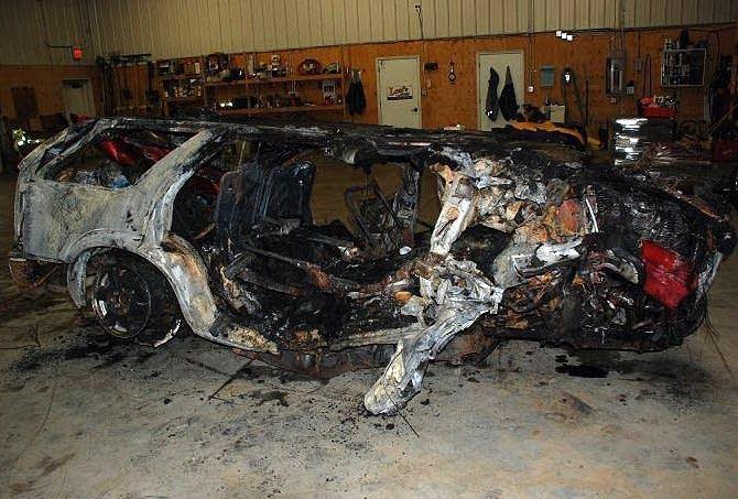 Crashed SUV