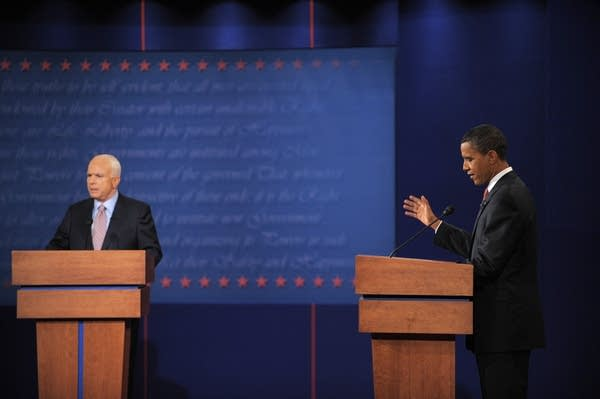 Obama speaks during the first debate