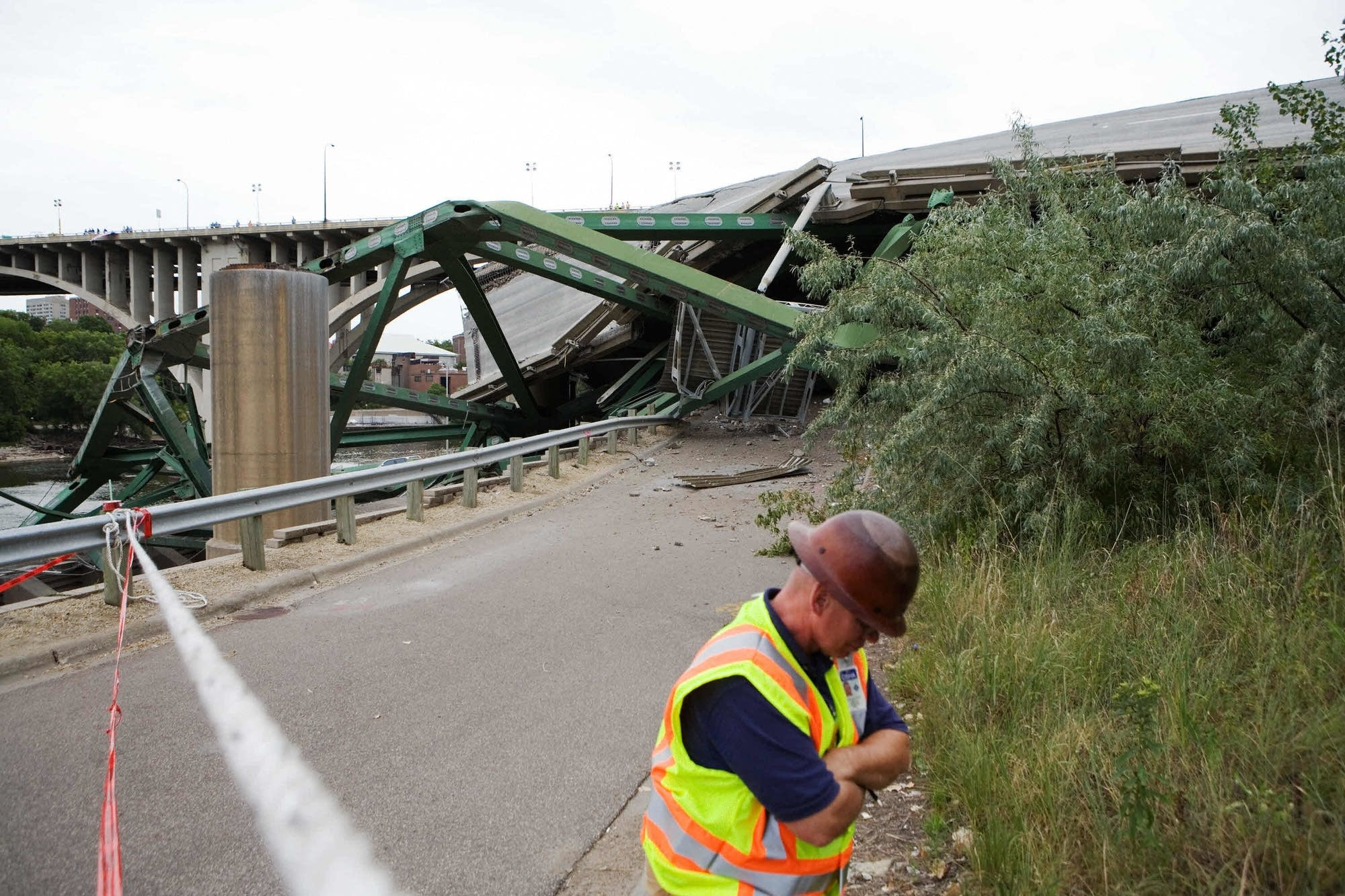 The collapsed I-35W bridge on August 4, 2007