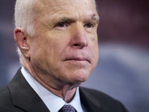 Sen. John McCain, R-Ariz., speaks to reporters