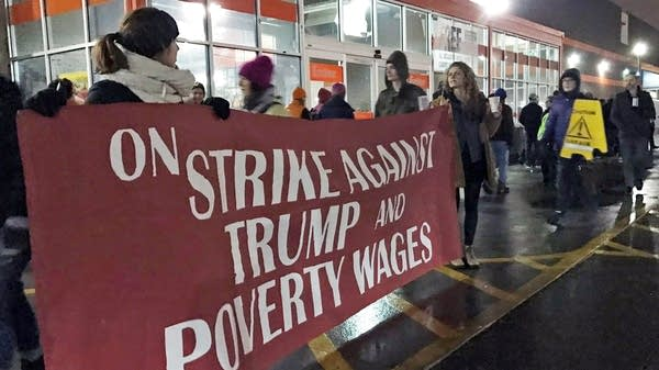 Protesters outside Home Depot on Inauguration Day