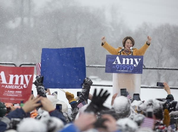 U.S. Sen. Amy Klobuchar speaks at a rally at Boom Island Park.