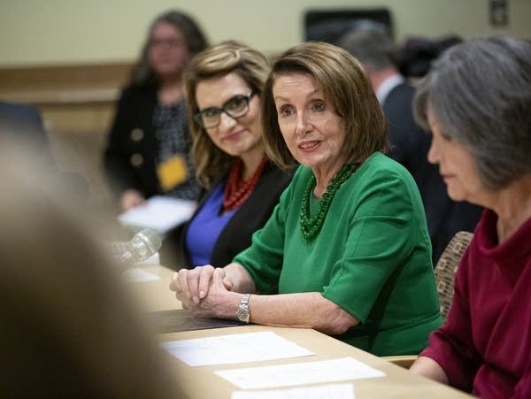 U.S. House Speaker Nancy Pelosi speaks during a roundtable discussion.