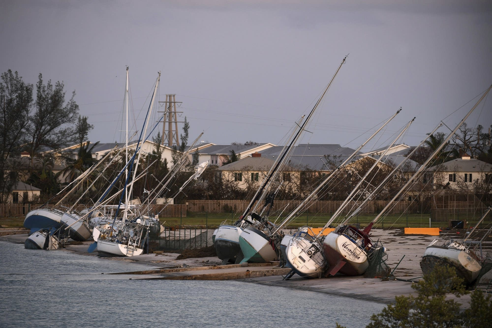 Damaged sailboats are shown in the aftermath of Hurricane Irma.