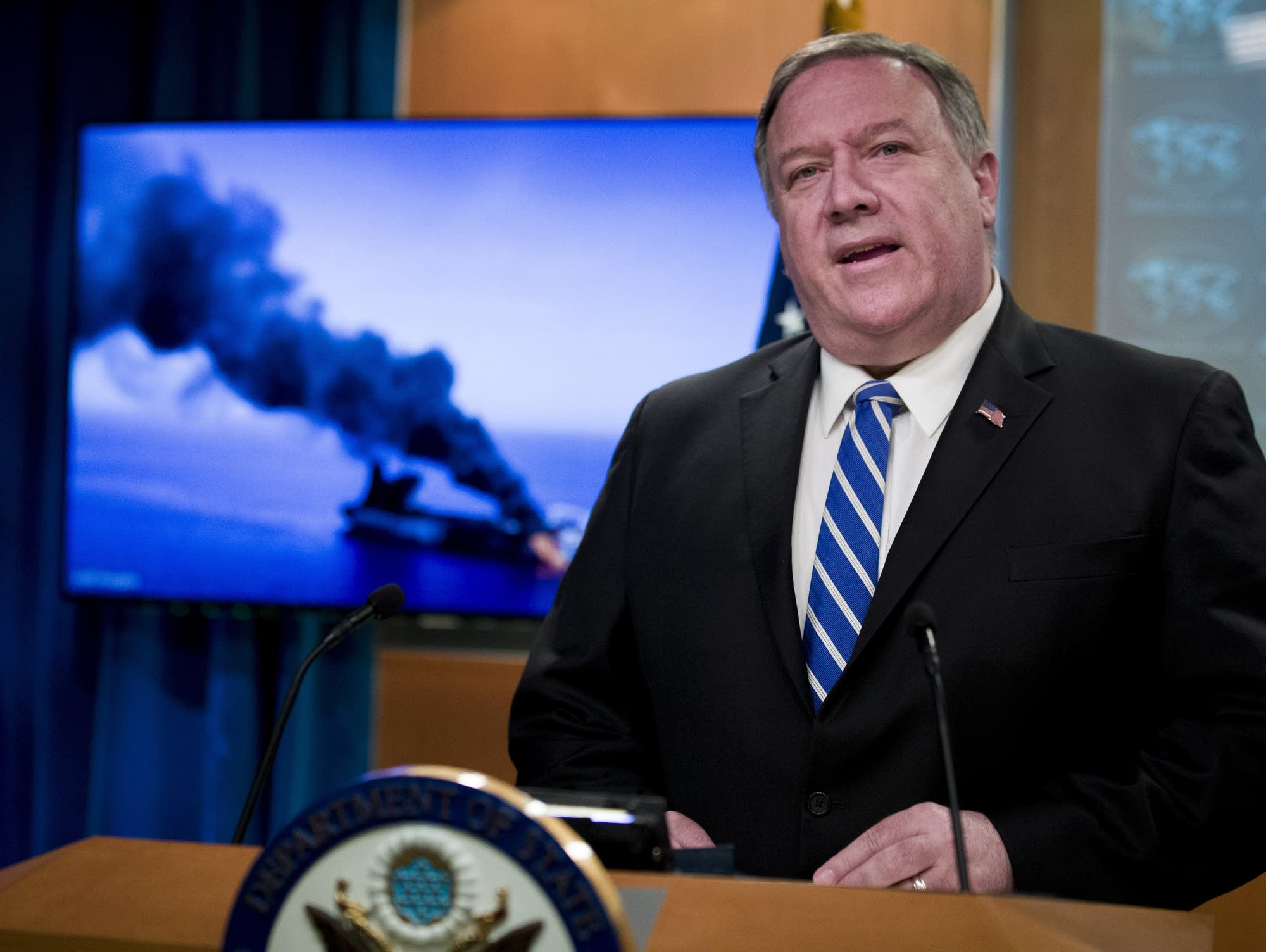 Mike Pompeo speaks at the State Department