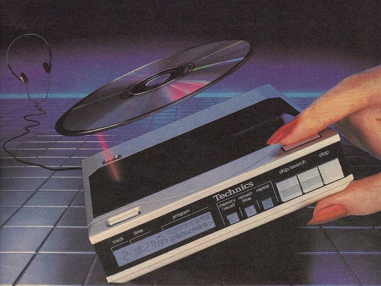 A compact disc player advertisement from the 1980s