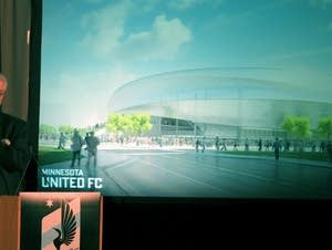 Bill McGuire unveils plans for soccer stadium.
