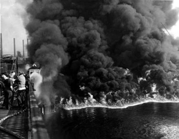 Cuyahoga River Fire Nov. 3, 1952.