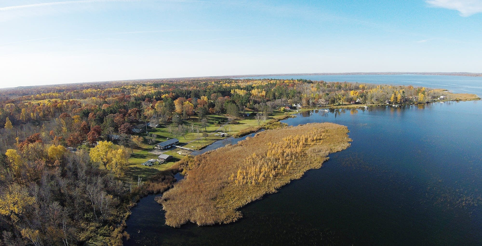 An aerial view of the bog in front of Legionville Safety Camp's beach.