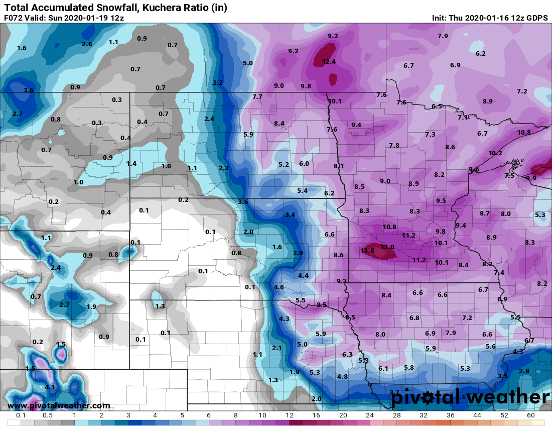 Canadian model snowfall output by Sunday