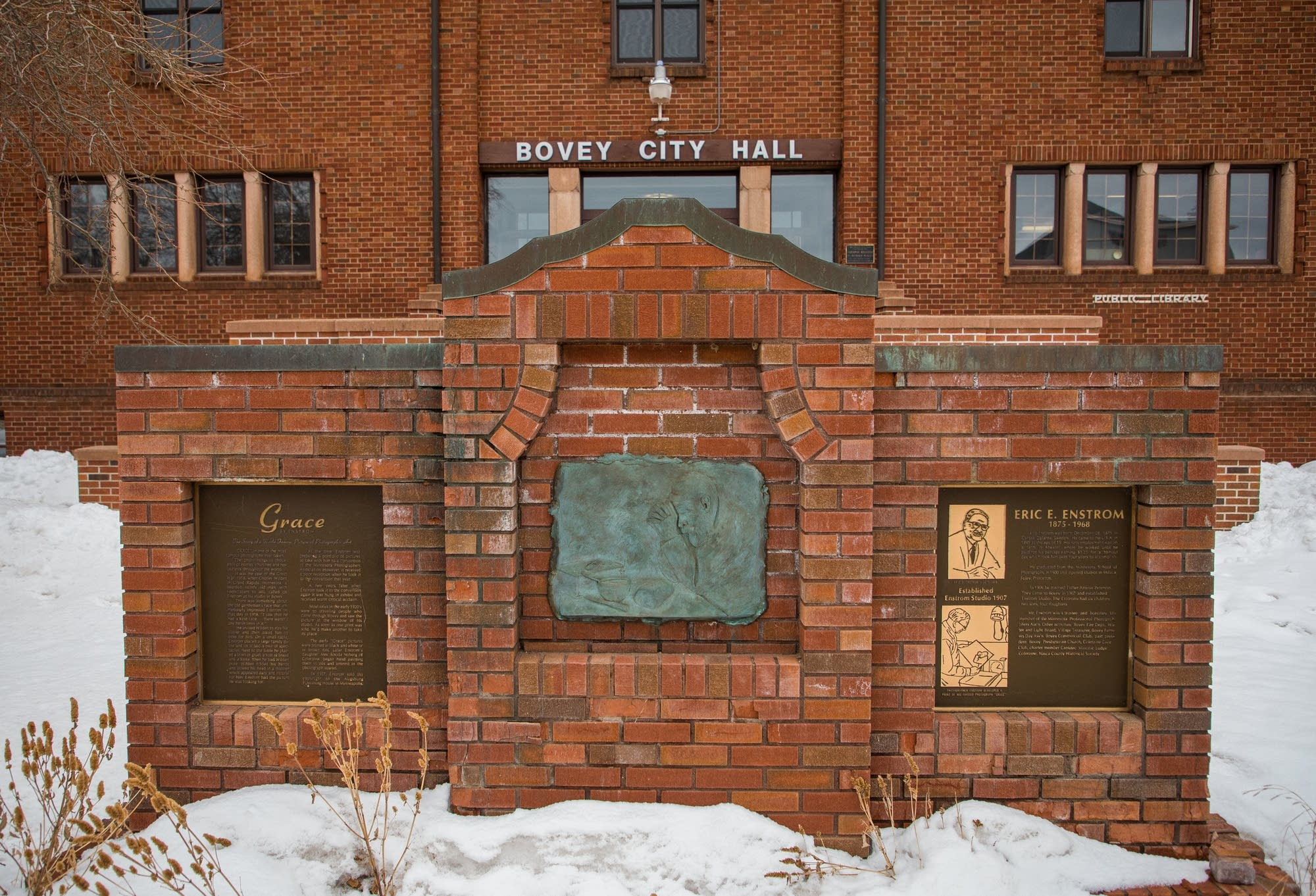 Bovey City Hall includes a monument to Eric Enstrom and