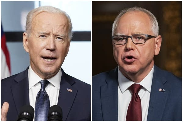 A side-by-side photo collage of Joe Biden and Tim Walz