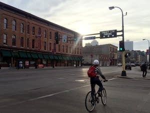 A cyclist on Washington Avenue