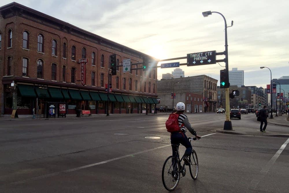 A cyclist on Washington Avenue