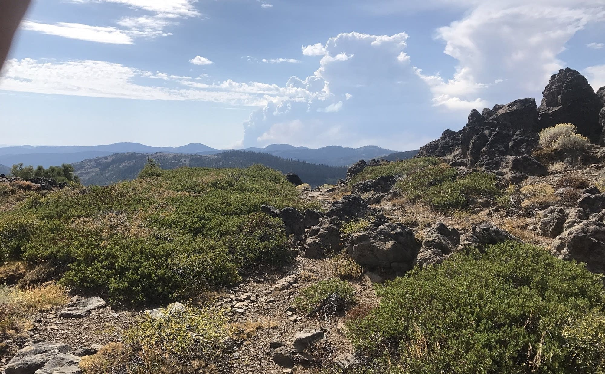 Forest fire visible on the Pacific Crest Trail