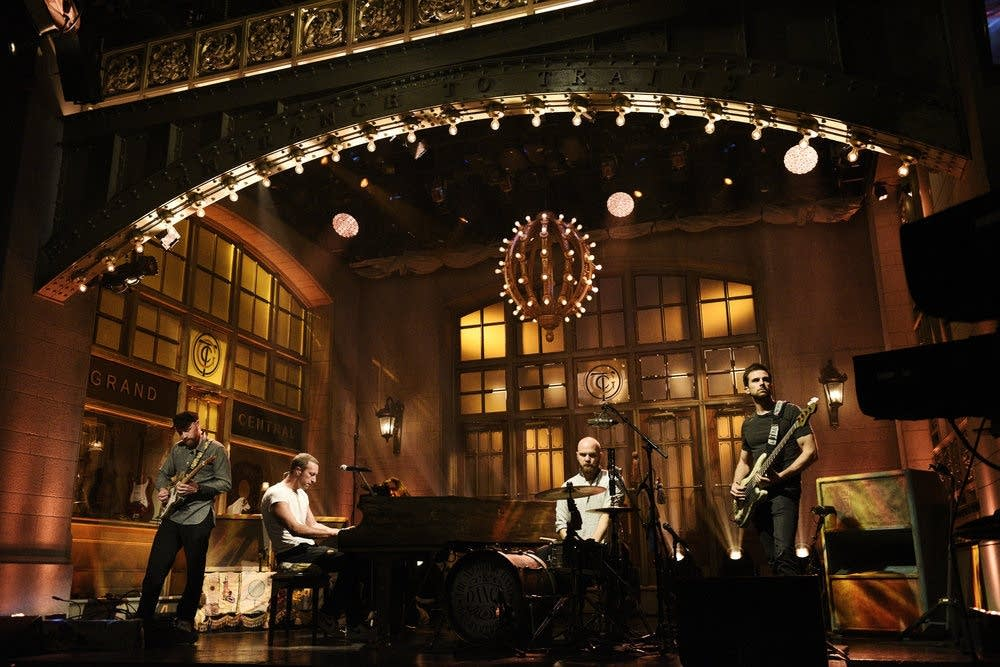 Coldplay performing on 'Saturday Night Live'