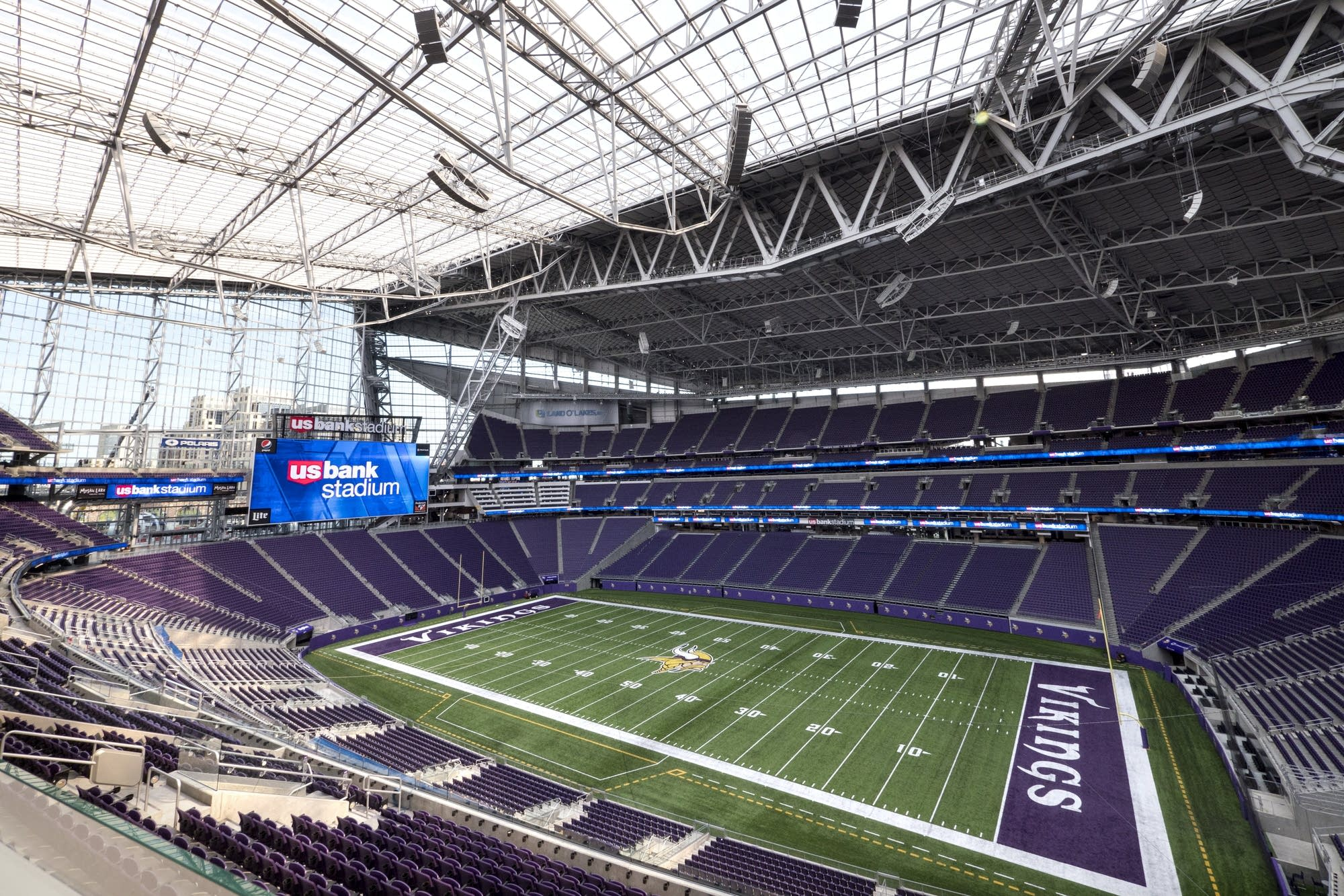 The field of the new Vikings stadium