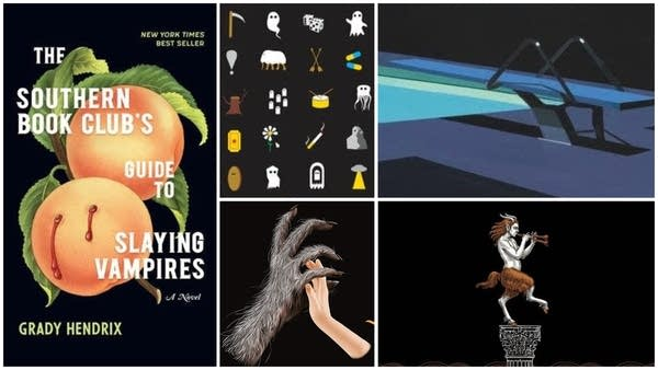 A collage of book cover art for five books