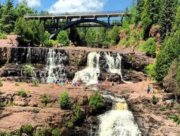 Crowds gather at Gooseberry Falls State Park