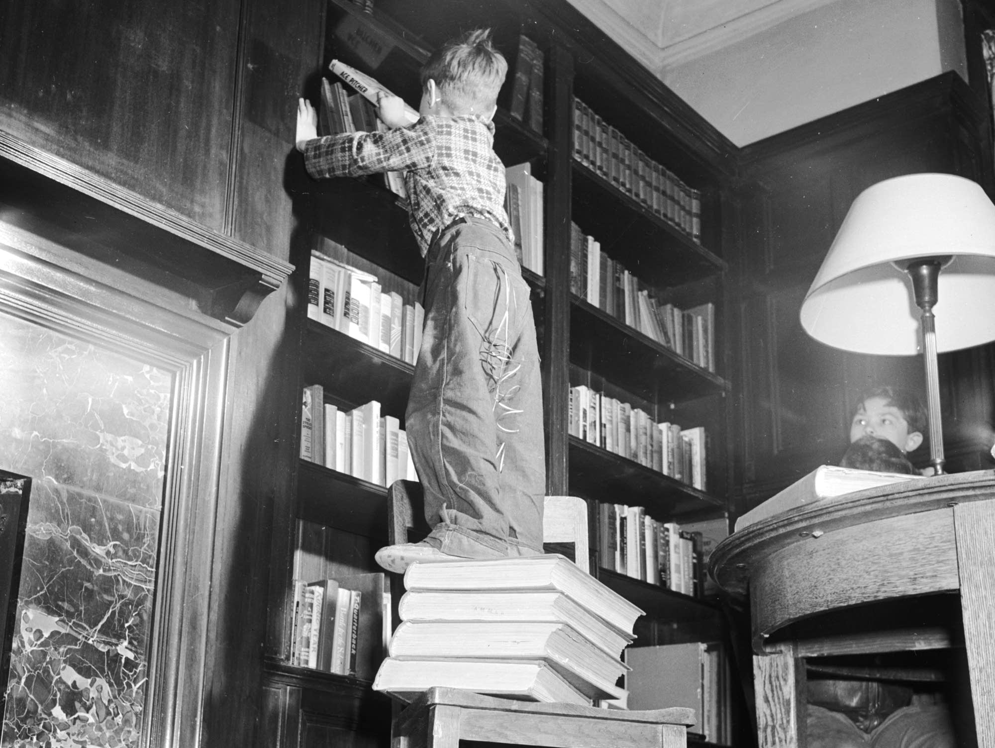Pile of books, circa 1955