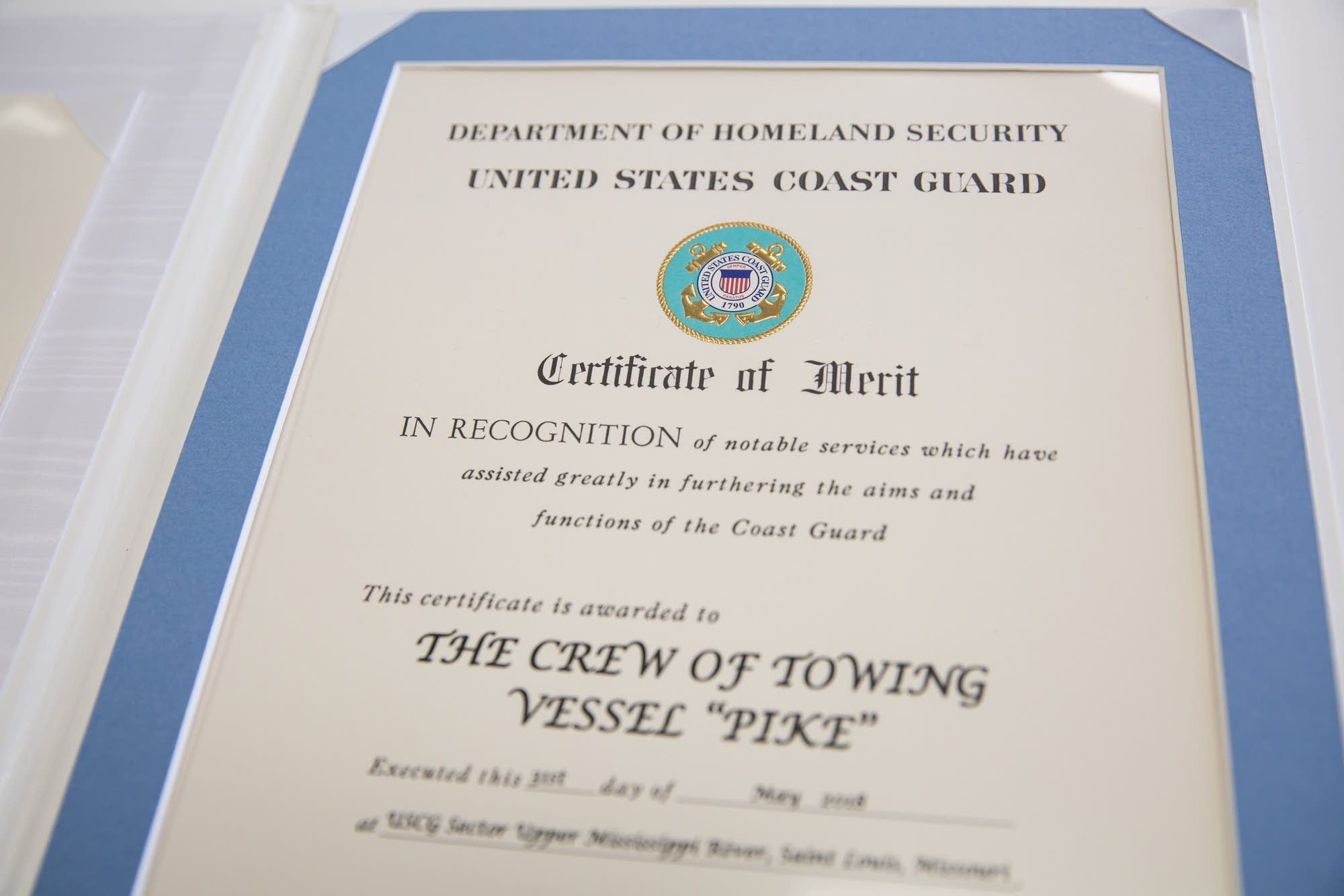A certificate of merit from the Coast Guard.