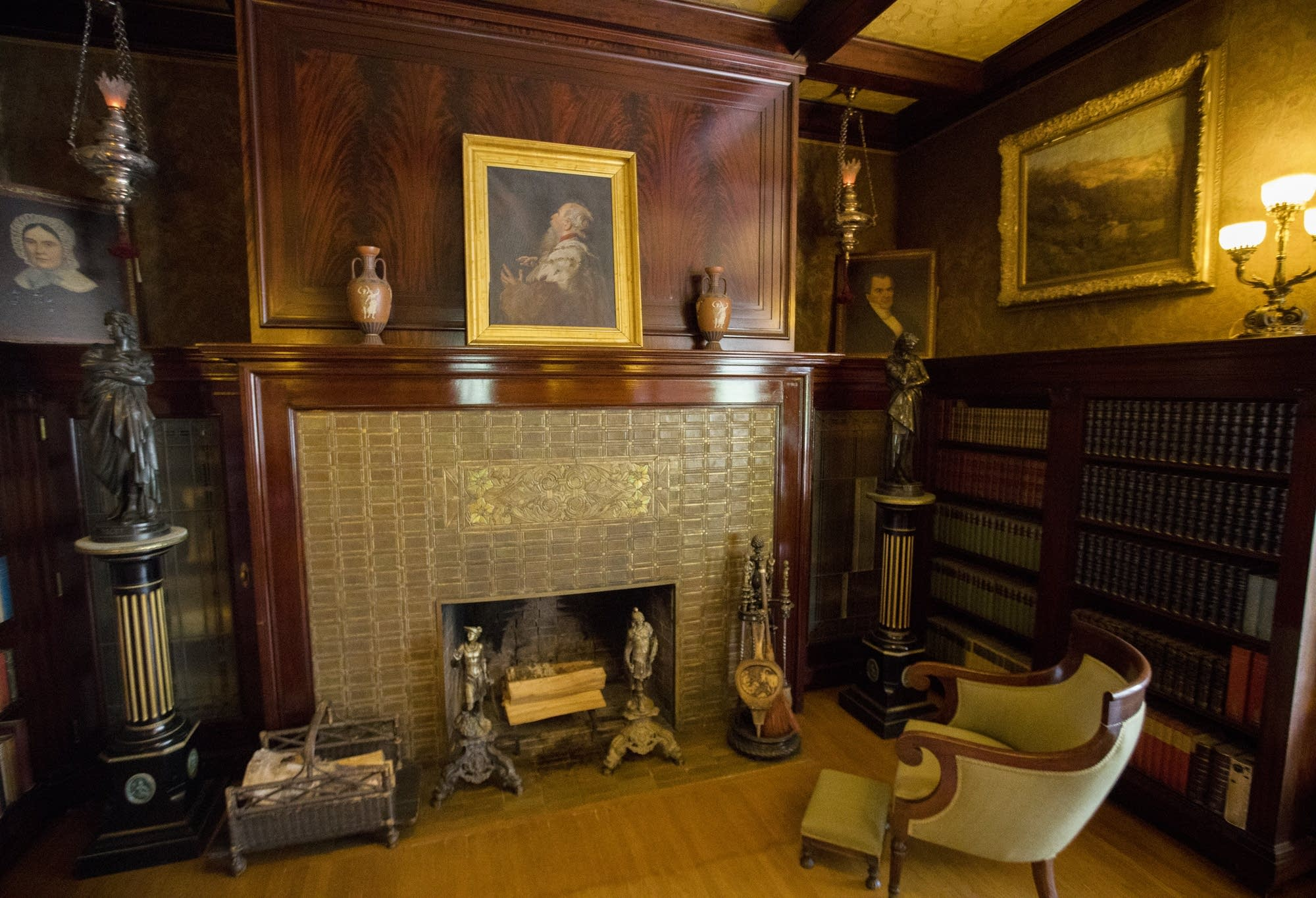 A view of the library at Glensheen Mansion.