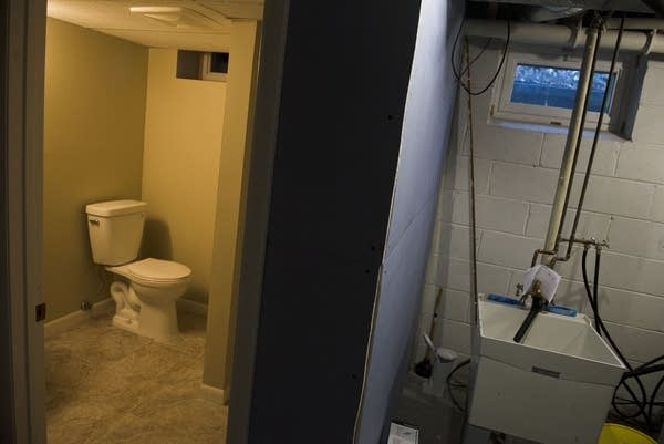 A small bathroom, added in the basement