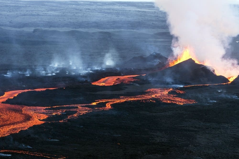 Aerial view of the lava flow