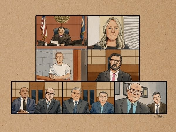 A sketching of the federal court hearing