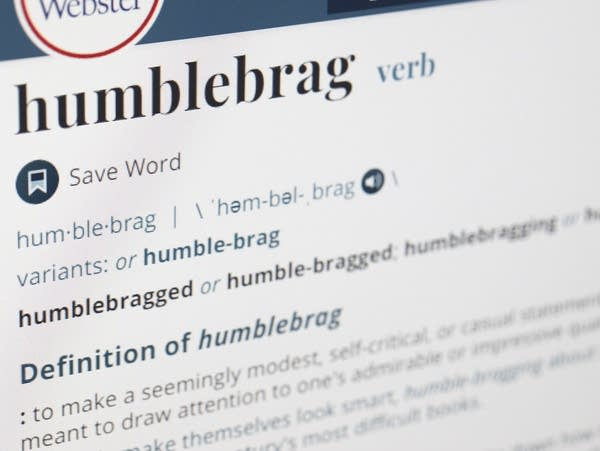 The word humblebrag is displayed on a computer screen