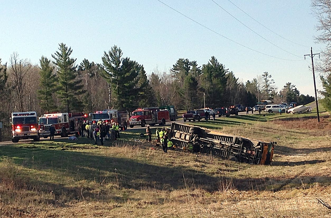 Emergency personnel were on the scene Wednesday morning a school bus crash.