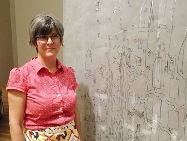 Beth Lipman at the installation of her new commission.