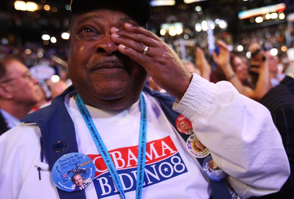 An Obama supporter cries during the DNC