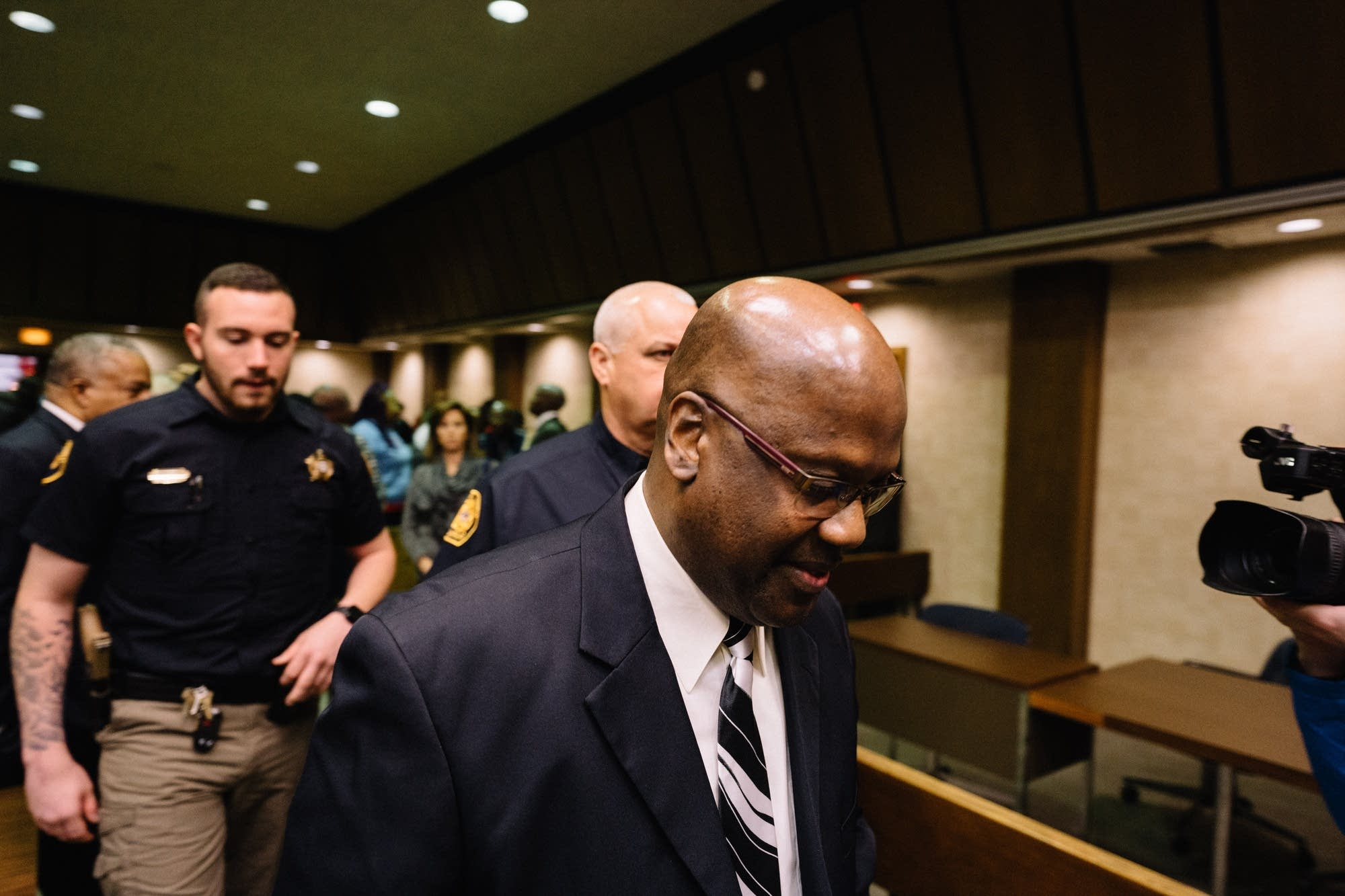 Curtis Flowers leaves the courtroom.
