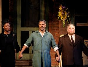 Actors Viola Davis, Denzel Washington and Stephen McKinley