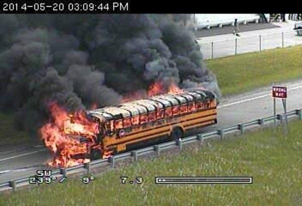School bus burns