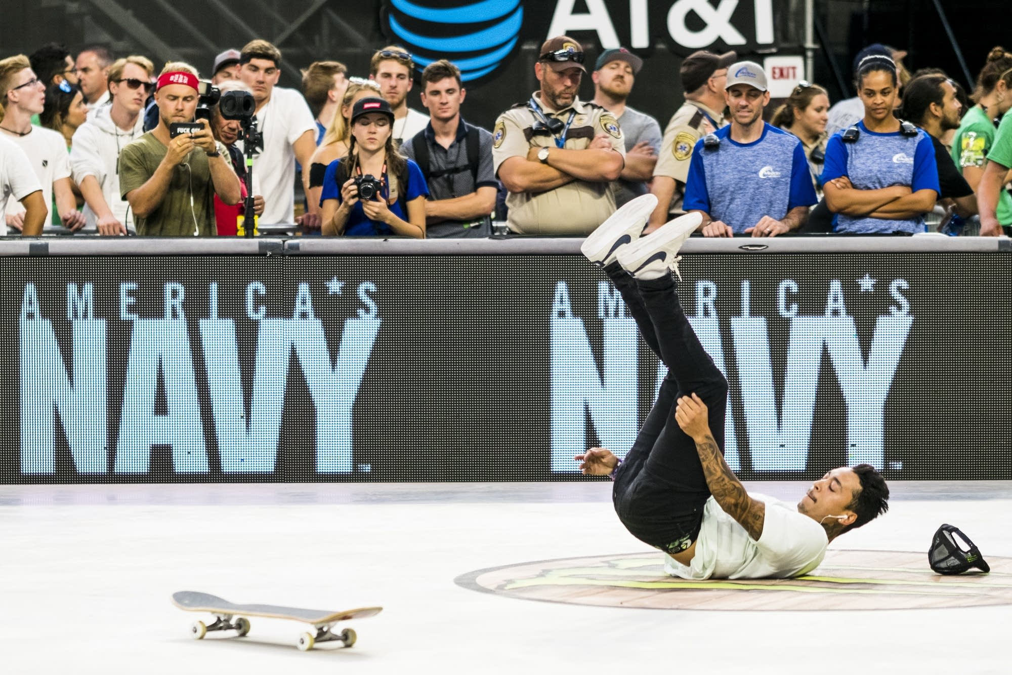 Nyjah Huston wipes out during a run in the men's street skateboard finals.