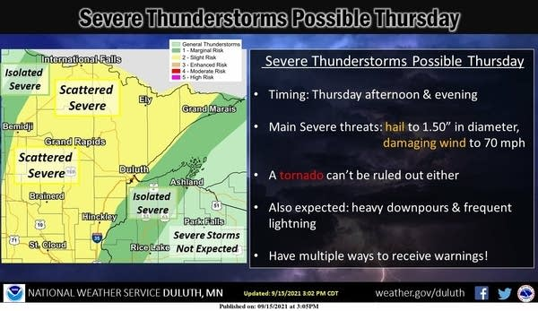 Severe weather risk areas for northern Minnesota