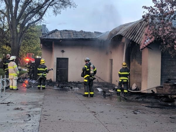 An overnight fire damaged the pavilion on East Lake Calhoun Parkway.