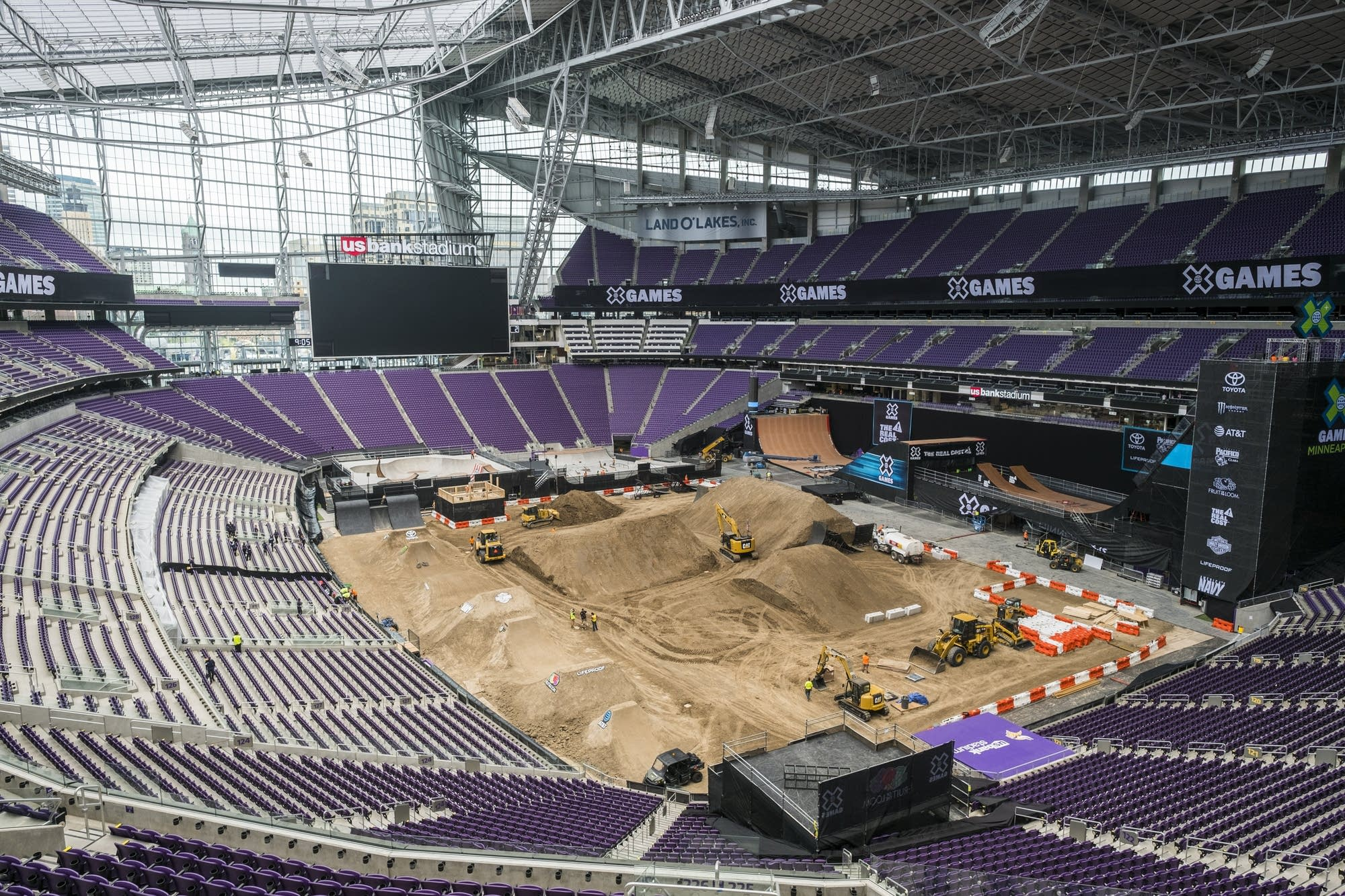 Construction continues before the X Games.